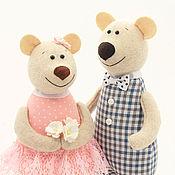 Мягкие игрушки ручной работы. Ярмарка Мастеров - ручная работа Ситцевые медведи – подарок на 1 год свадьбы, игрушки мишки. Handmade.
