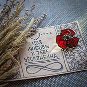Brooches handmade. Livemaster - original item Glass Brooch red poppy on Valentine`s day. Handmade.