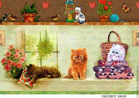 Декупаж и роспись ручной работы. Ярмарка Мастеров - ручная работа. Купить Котята на окне (D100158) - рисовая бумага, А4. Handmade.