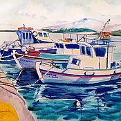 Картины и панно handmade. Livemaster - original item On the Greek shores watercolor. Handmade.
