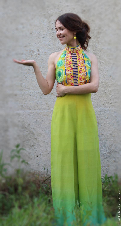 Батик- комбинезон светлозеленый шелковый Египет, Комбинезоны, Москва,  Фото №1