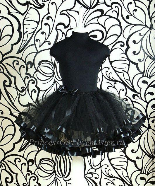 Одежда для девочек, ручной работы. Ярмарка Мастеров - ручная работа. Купить Пышная юбка с лентами (черная). Handmade. Черный