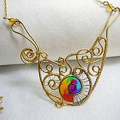 "Necklace handmade. Livemaster - original item Brass wire wrapped necklace ""Rainbow lace"". Handmade."
