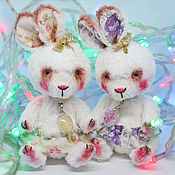 Куклы и игрушки handmade. Livemaster - original item Bunny Teddy with a pendant of opal. Teddy the hare, Teddy`s friends. Handmade.