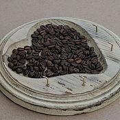 Ключницы ручной работы. Ярмарка Мастеров - ручная работа Ключница деревянная круглая с кофе, состаренная,  шебби шик. Handmade.