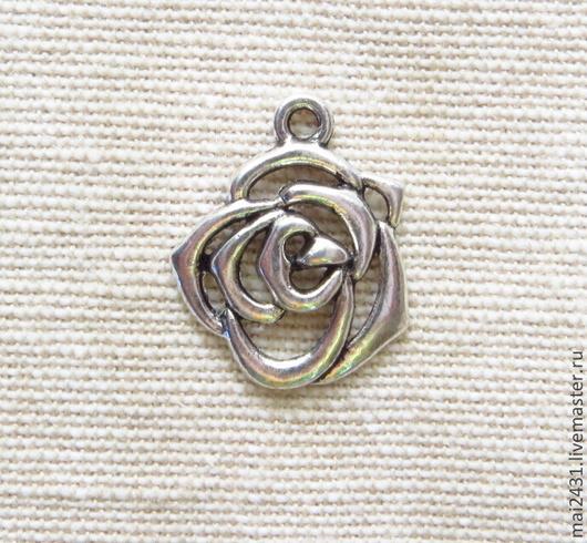 Подвеска цветок розы, античное серебро