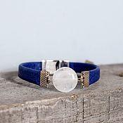 Украшения handmade. Livemaster - original item Blue bracelet with magnetic lock Blue-white. Handmade.