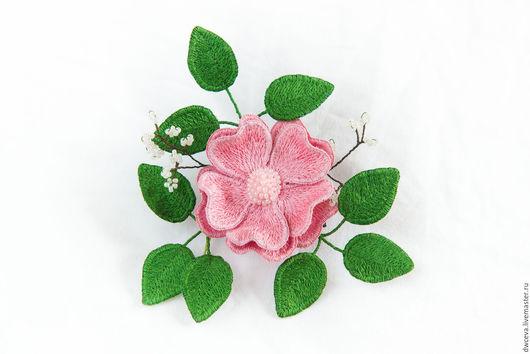 """Броши ручной работы. Ярмарка Мастеров - ручная работа. Купить Брошь из шелка """"Нежно-розовая чайная роза"""". Handmade."""