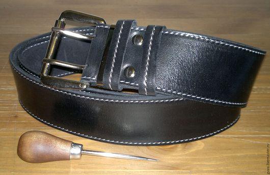 Пояса, ремни ручной работы. Ярмарка Мастеров - ручная работа. Купить Ремень широкий джинсовый 50 мм из натуральной кожи.. Handmade.