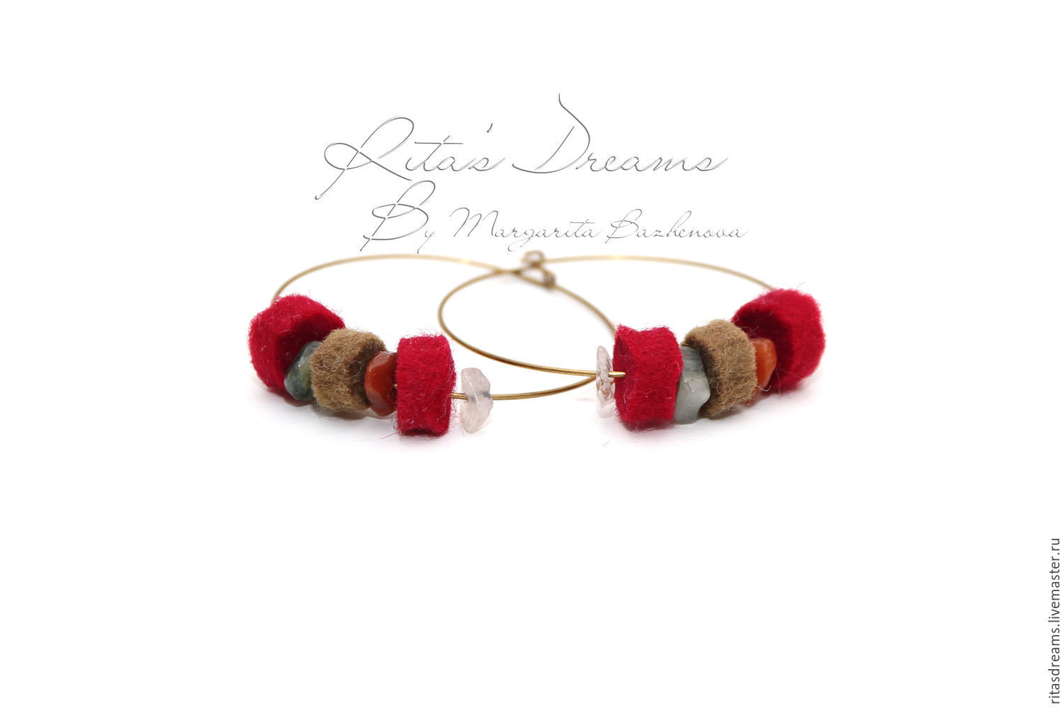 Cute and comfortable earrings from felted discs and quartz chips - a warm decoration in warm colours. diameter of the earring is 4 cm.
