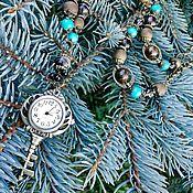 Работы для детей, handmade. Livemaster - original item Sautoir-watch made of bronzite, rauchtopaz, turquoise, agate Golden fleece. Handmade.