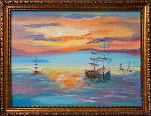 Пейзаж ручной работы. Ярмарка Мастеров - ручная работа. Купить Яхты на закате. Handmade. Разноцветный, яхты, море, море на закате