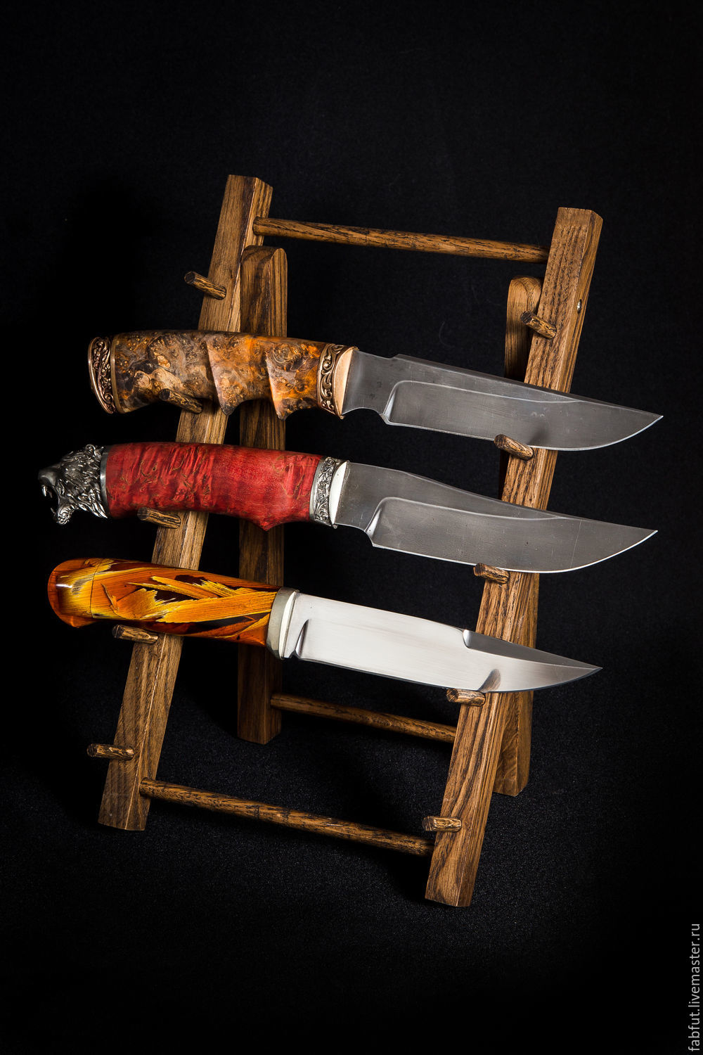 Foldable stand for fixed knives made of oak, Knives, Vorsma,  Фото №1