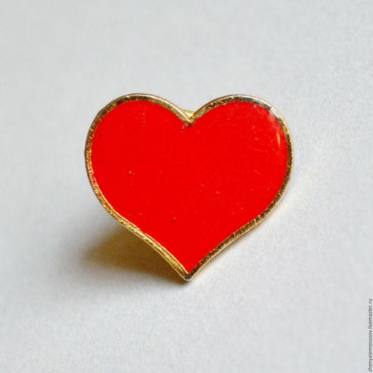 Винтажные украшения. Ярмарка Мастеров - ручная работа. Купить Пурпурное сердце Брендовая винтажная брошь. Эмаль.. Handmade. Тёмно-синий