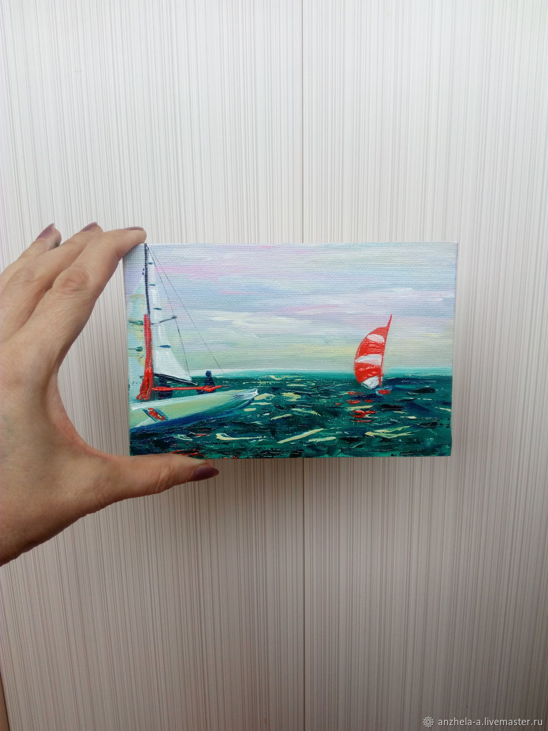 ' Scarlet Sails ' miniature oil 10/15, Pictures, Moscow,  Фото №1