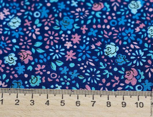 Шитье ручной работы. Ярмарка Мастеров - ручная работа. Купить Ткань Хлопок Синие цветы ширина 220 см тильда. Handmade.