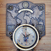Часы классические ручной работы. Ярмарка Мастеров - ручная работа Часы настенные декорат. «THE ERA OF DISCOVERY» (эпоха открытий). Handmade.