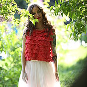 Одежда ручной работы. Ярмарка Мастеров - ручная работа Топ женский вязаный коралловый из хлопка Кармен. Handmade.