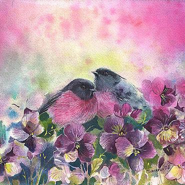Картины и панно ручной работы. Ярмарка Мастеров - ручная работа Картины: Акварель картина с птицами в фиалках. Handmade.