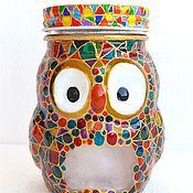 Банки ручной работы. Ярмарка Мастеров - ручная работа Стеклянная банка в виде совы, сова мозаичная, сова витражная. Handmade.