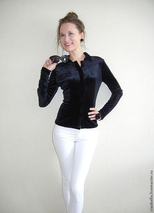 """Блузки ручной работы. Ярмарка Мастеров - ручная работа. Купить Бархатная рубашка """"Chic"""". Handmade. Черный, бархат, черная блуза"""