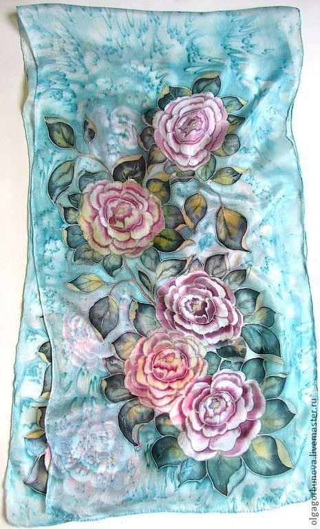 Batik scarf 'Roses', Scarves, Yaroslavl,  Фото №1