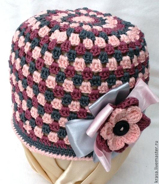 Шапки ручной работы. Ярмарка Мастеров - ручная работа. Купить вязаная весенняя шапочка Пепельная роза. Handmade. Разноцветный