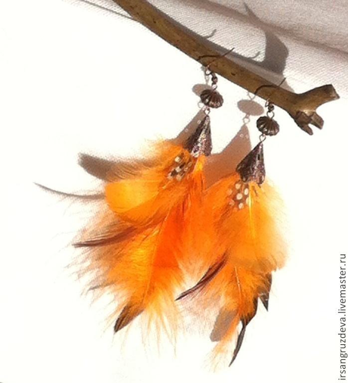 Earrings clip-on earrings with feathers !Not boring!, Clip on earrings, St. Petersburg,  Фото №1