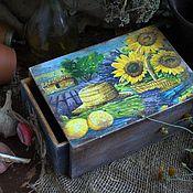 """Для дома и интерьера ручной работы. Ярмарка Мастеров - ручная работа Короб выдвижной """"Лаванда и подсолнухи"""" в стилеПрованс. Handmade."""