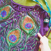 T-shirts handmade. Livemaster - original item Peacock feather. Handmade.