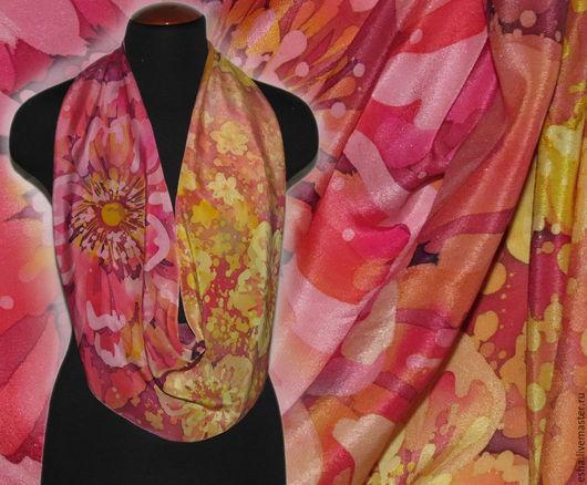 """Шарфы и шарфики ручной работы. Ярмарка Мастеров - ручная работа. Купить Батик  шарф """"Цветочное солнце"""", крепдешин, шелк. Handmade."""