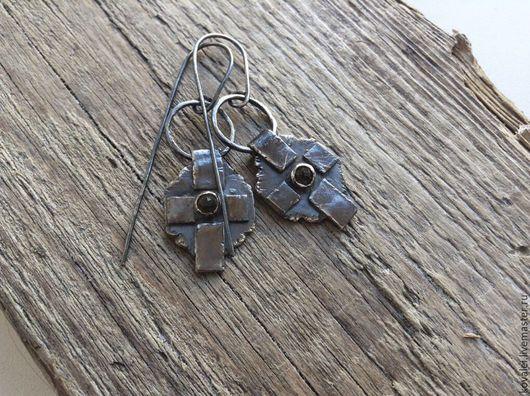 Серьги ручной работы. Ярмарка Мастеров - ручная работа. Купить Серьги серебро кварц. Handmade. Серый, кварц натуральный