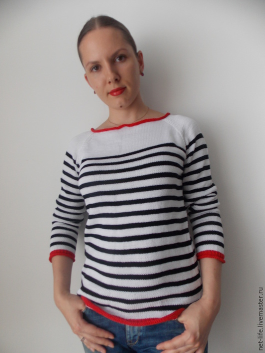 """Кофты и свитера ручной работы. Ярмарка Мастеров - ручная работа. Купить Пуловер """"Пиратка"""" тельняшка вязаная хлопок. Handmade."""