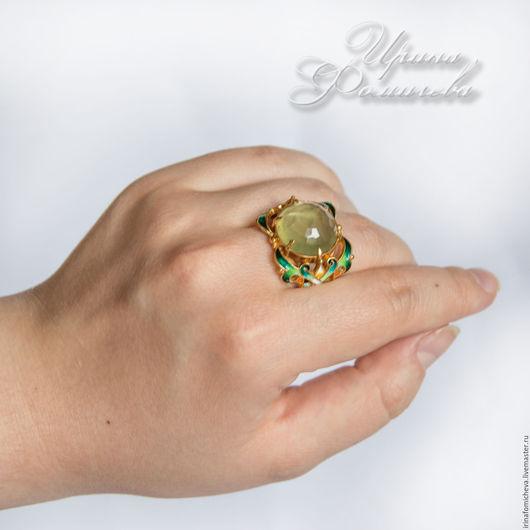 """Кольца ручной работы. Ярмарка Мастеров - ручная работа. Купить Кольцо """"Дайкири"""". Handmade. Зеленый, Горячая эмаль, пренит натуральный"""