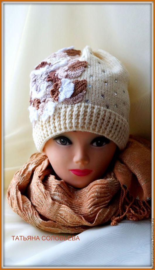 """Одежда для девочек, ручной работы. Ярмарка Мастеров - ручная работа. Купить Шапка для девочки """" Цветочная полянка"""".. Handmade. Белый"""