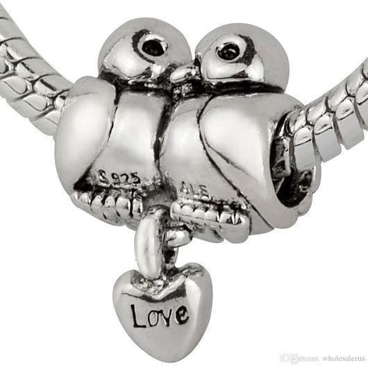 Для украшений ручной работы. Ярмарка Мастеров - ручная работа. Купить Европейская Шарм бусина для браслета птички влюбленные голубки серебро. Handmade.
