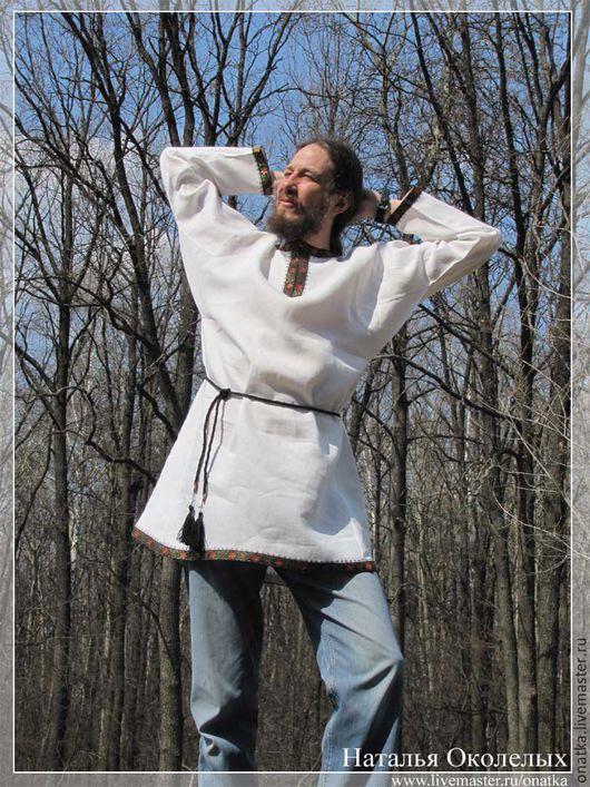 Одежда ручной работы. Ярмарка Мастеров - ручная работа. Купить Рубаха в русском стиле. Handmade. Лен, белый, рубаха русская