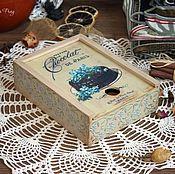 """Для дома и интерьера ручной работы. Ярмарка Мастеров - ручная работа Короб """"Незабудки & Chocolate"""". Handmade."""