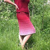 Одежда ручной работы. Ярмарка Мастеров - ручная работа Вязаная юбка Черешня. Handmade.