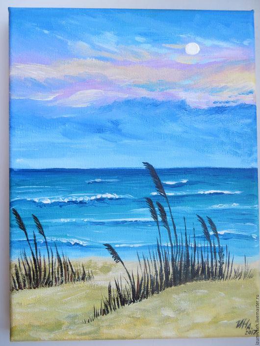 Пейзаж ручной работы. Ярмарка Мастеров - ручная работа. Купить Закат на песчаном пляже.. Handmade. Пляж, пустынный пляж, волны