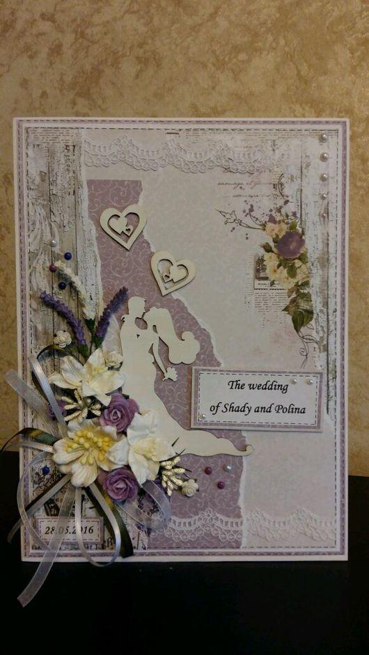 Свадебные открытки ручной работы. Ярмарка Мастеров - ручная работа. Купить Свадебная открытка /открытка на венчание (макси). Handmade.