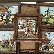 Винтаж ручной работы. Ярмарка Мастеров - ручная работа Голландия керамическое панно артплитка. Handmade.