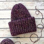 Стильная вязаная шапка с двойным отворотом