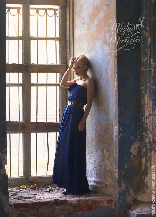 """Платья ручной работы. Ярмарка Мастеров - ручная работа. Купить Вечернее платье цвета """"сапфир"""". Handmade. Тёмно-синий, корсет"""