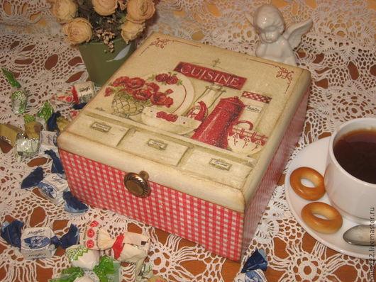 """Кухня ручной работы. Ярмарка Мастеров - ручная работа. Купить """"СUISINE""""-короб. Handmade. Ярко-красный, шкатулка декупаж"""