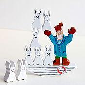 """Куклы и игрушки ручной работы. Ярмарка Мастеров - ручная работа Деревянная развивающая игрушка - балансир """"Дед Мазай и зайцы"""". Handmade."""