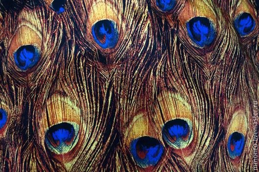 Шитье ручной работы. Ярмарка Мастеров - ручная работа. Купить Шикарная яркая ткань, хлопок Перо павлина. Handmade. Ткань