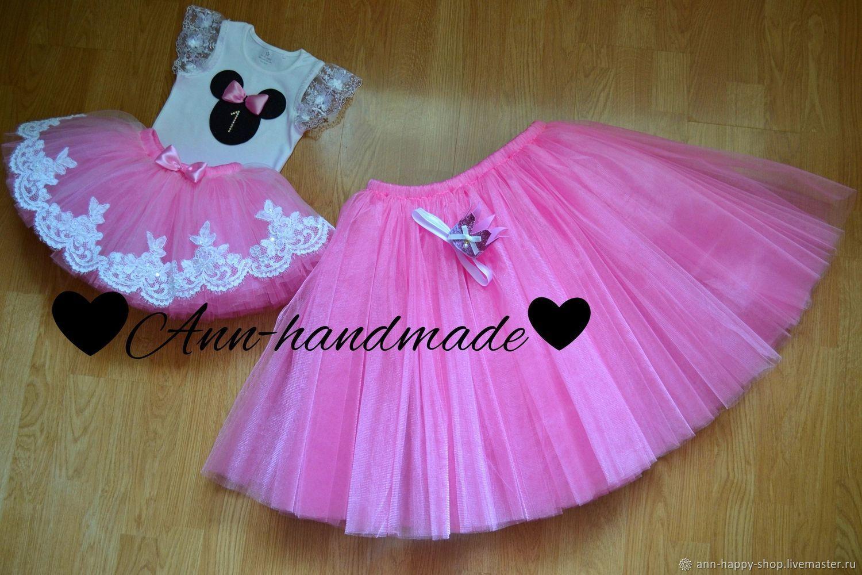Комплект Минни Маус, одинаковые юбки для мамы и дочки