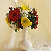 Для дома и интерьера ручной работы. Ярмарка Мастеров - ручная работа Букет цветов из полимернй глины. Handmade.