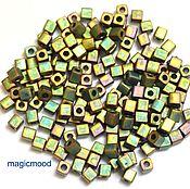 Материалы для творчества handmade. Livemaster - original item 10 g 3 mm cube 2035 Japanese Miyuki seed beads, matte rainbow khaki. Handmade.